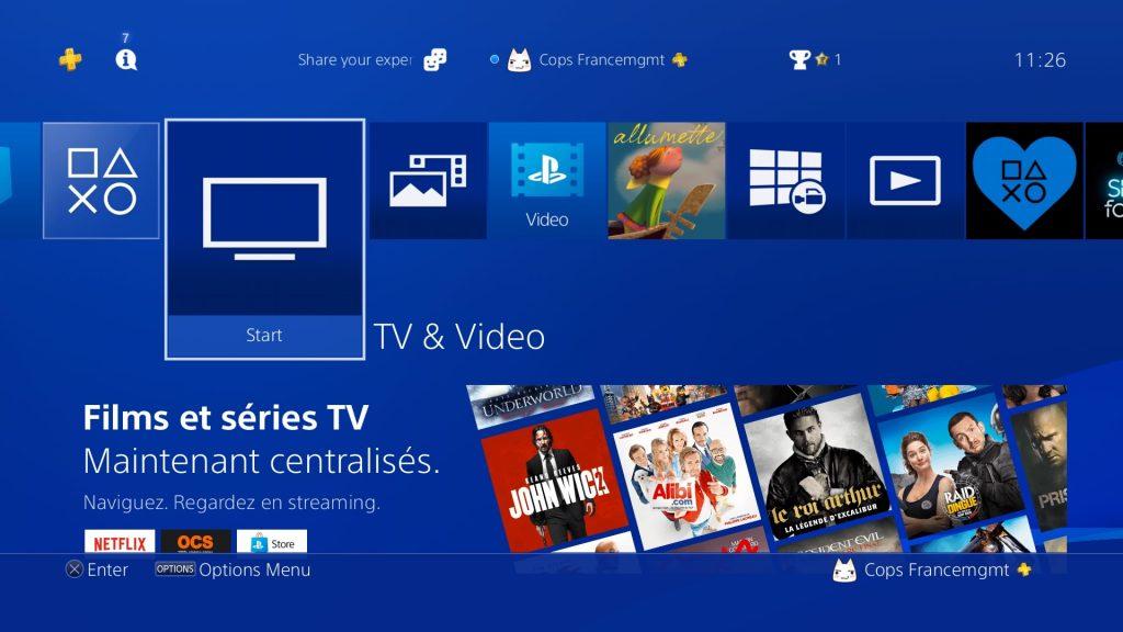 TV & vidéo sur PS4